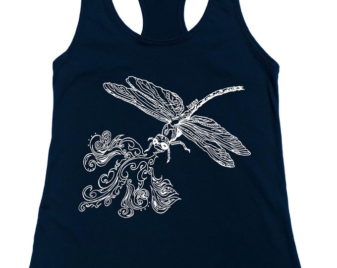 Dragonfly Clothing for Women - Tank Tops for Women - Dragonfly Tank Tops - Blue Racerback Tanks for Women - Gift for Women - Birthday Gifts