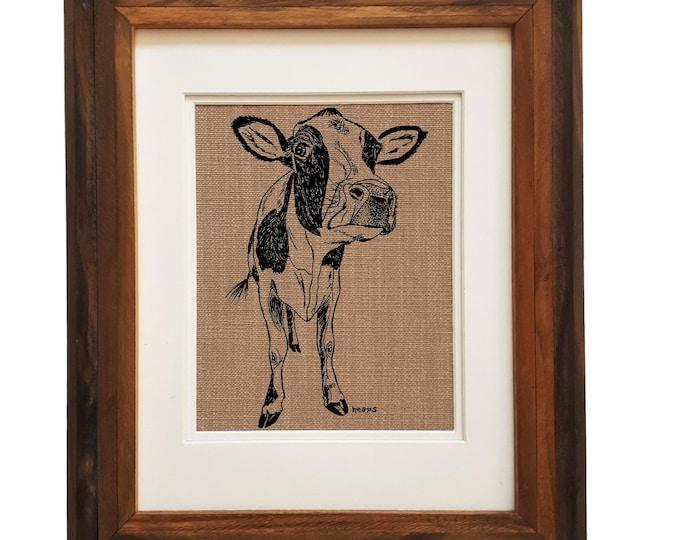 Wall Art Print - Unframed - Cow Wall Decor - Rustic Wall Decor - House Warming Gift - Kitchen Art - Screen Print Art - Cow Print Livingroom