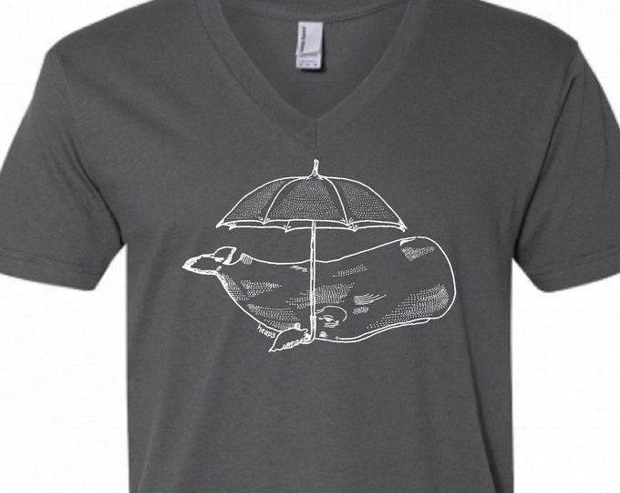 V Neck Shirt Men - Dark Grey Whale with an Umbrella Vneck Tshirt - American Apparel V-Neck Tee - Boyfriend Birthday Gift - Husband Gift