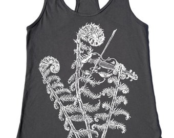 Tank Top for Women - Nature Inspired Tshirt - Womens Tank Tops - Funny Tank Tops - Violin - Funny Gifts for Women - Plant Tshirt