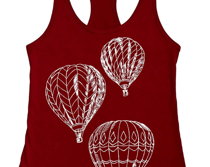 Womans Tank Top -  Hot Air Balloons Tank Top -  Funny Graphic Tanks - Loose Fit - Womens Racerback Tank - Flowy Tank Tops - Cute Summer Tank