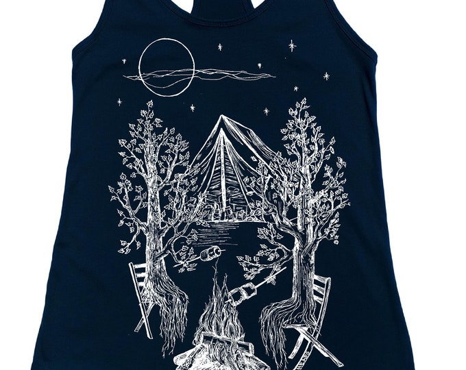 Tanks for Women - Trees Camping Tank - Beach Tank Tops - Summer Tank Top - Cute Tank Top - Printed Flowy Tank - Blue Tank Top - Gift for Her