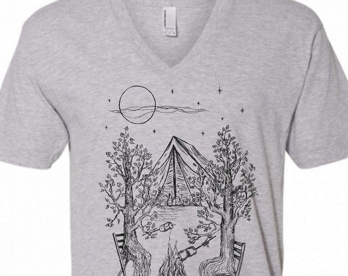 V Neck Shirt Men - Dark Grey Camping Trees Vneck Tshirt - American Apparel V-Neck - S M L XL 2XL - Boyfriend Birthday Gift - Husband Gift