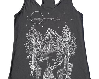 Gym Tank Top - Womens Muscle Tank - Boho Tank Top - Camping Tank Top for Women - Womens Tank Tops - Bonfire - Tenting - Funny Tank Tops
