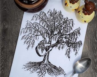 Kitchen Tea Towel - Willow Tree Towels - Dish Towel - Cotton Flour Sack Towel - Tree Prints - Hand Towels - Cotton Linens