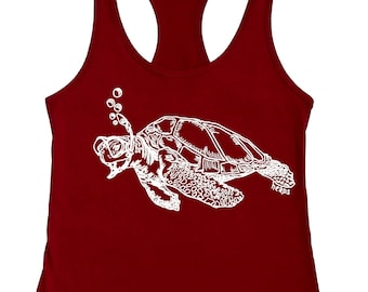 Gifts for Women - Tank Tops for Women - Turtle Tank Top - Gifts for Her - Gifts for Mom - Gifts for Sister - Funny Summer Beach Graphic Red