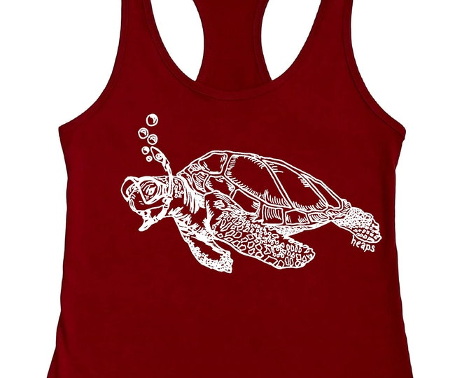 Funny Womens Tank Top-  Sea Turtle Tank -  Graphic Tanks for Woman - Swimming Tank Top - Womans Racerback Tank - Nautical Beach Tank Tops