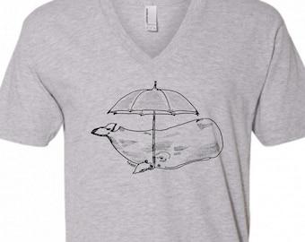 V Neck Shirt Men - Whale with an Umbrella Vneck Tshirt - American Apparel V-Neck Tee - Boyfriend Gift - Husband Gift - Grey Tshirts for Men