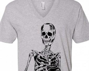 V Neck Shirt Men - Skeleton Drinking Coffee Vneck Tshirt - American Apparel S M L XL 2XL - Boyfriend Gift Husband Gift - Grey Tshirt for Men