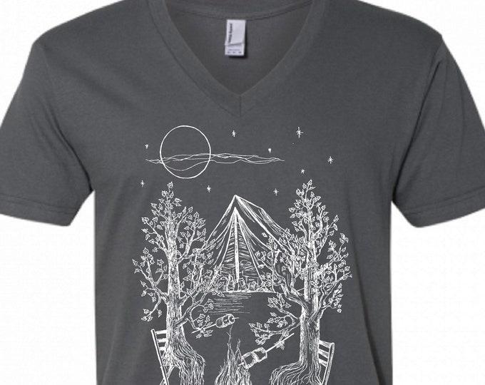 Mens V Neck Tshirt - Dark Grey Camping Trees Vneck Tshirt - American Apparel V-Neck - S M L XL 2XL - Boyfriend Birthday Gift - Husband Gift
