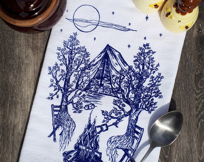 Tea Towel - Dish Towel - 100% Cotton Towel - Funny Kitchen Towels - Flour Sack Kitchen Towel - Blue Towels - Trees Camping