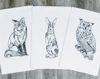 Kitchen Towels Set - Black Ink Screen Printed Woodland Animals - Tea Towels - Dish Towels - Cotton Towels - Flour Sack Towels  Animal Towel