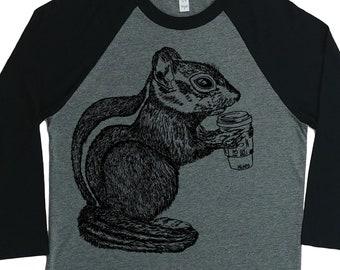 Baseball Shirt for Women - Unisex Fit - Baseball Tees - Coffee Shirt - Raglan TShirts for Woman - Chipmunks - Woman's Baseball Shirt