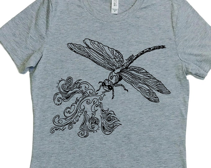 Womens TShirt - Fire Breathing Dragon Fly TShirt - Crew Neck Tee - Cute Tshirt - Nerdy T Shirt - Grey Womens Shirt -  Womens Short Sleeve