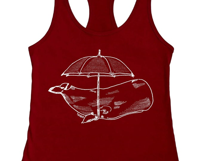 Womans Tank Tops - Whale with an Umbrella - Racerback Flowy Tanks - Graphic Tshirts for Women - Sleeveless Tank Top with Image - Whale Tank