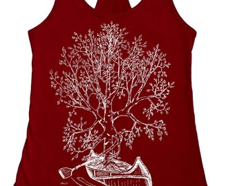 Canoeing Tank Top - Tank Tops for Women - Funny Tanks - Yoga Tanks - Exercise Tank Top - Graphic Tank Top - Scarlet Red Tank - Canoe Shirt