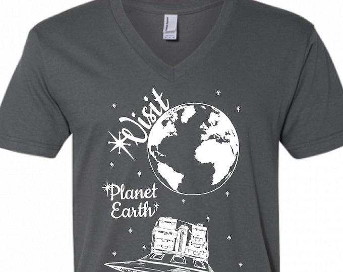 V Neck Shirt Men - Dark Grey Alien Vacation Vneck Tshirt - American Apparel V-Neck - S M L XL 2XL - Boyfriend Birthday Gift - Husband Gift