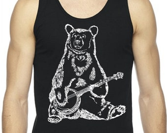 Tanks Tops Men Graphic Muscle Workout Exercise Workout Fitness Black Bear Banjo