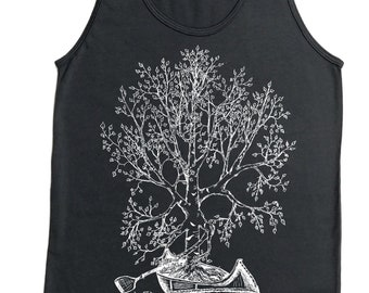 Tank Tops for Men - American Apparel - Mens Gifts - Canoeing Tank Top - Tree Tank - Retro Tshirts - Nature Inspired Hipster Printed Graphics
