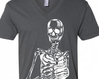 V Neck Shirt Men - Dark Grey Skeleton Drinking Coffee Vneck Tshirt - American Apparel V-Neck - S M L XL 2XL - Boyfriend Gift - Husband Gift