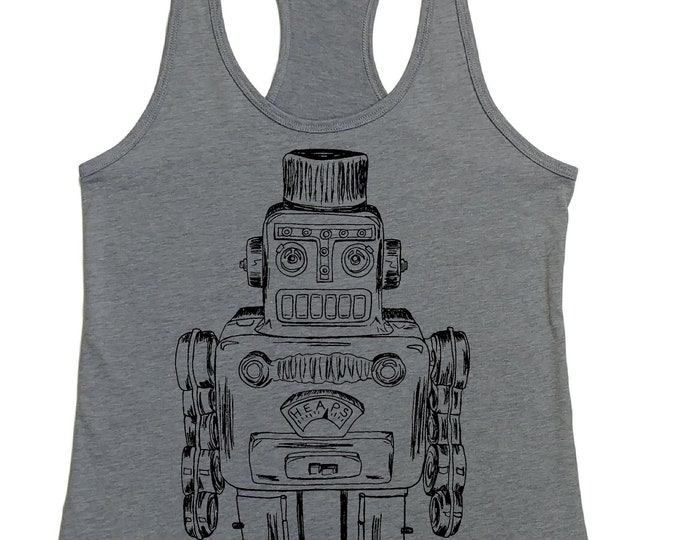 Womens Tank Top -  Vintage Robot Tank Top -  Sci Fi Outer Space - Womans Graphic Tanks - Loose Fit - Racerback Tank - Flowy Tank Summer Tank
