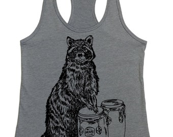 Womans Tank Top -  Raccoon Tank Top -  Womens Funny Graphic Tanks - Loose Fit - Womens Racerback Tank - Flowy Tank Tops - Cute Summer Tank