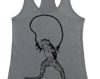 Tank Tops for Women - Gym Tank Top - Womens Muscle Tank - Boho Tank Top -  Frog Jumping Rope - Graphic Tanks for Woman - Flowy Grey Tank Top