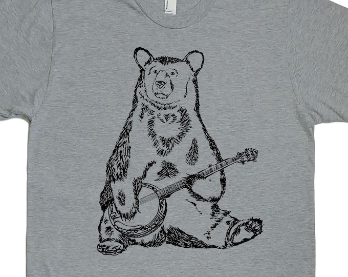 Mens T Shirt - Banjo Bear T Shirt - Animal Tee - Graphic T Shirt for Men Printed Tee Mens Short Sleeve Shirt - Mens Tee Shirts  S M L XL 2XL
