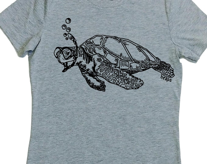 Womens TShirts - Sea Turtle Womens Tees - Cool TShirts - Nautical T Shirt - Grey Tshirts - Gift for Women - Best Friend Gift - Womens Tee