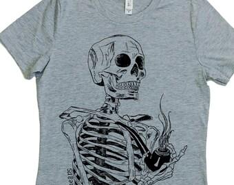Pipe Smoking Shirt - Pipe Smoker Gift - Smoking Tshirt - Smoker Gift - Pipe Shirt - Skeleton Shirt - Women Graphic Tee - Woman T Shirt