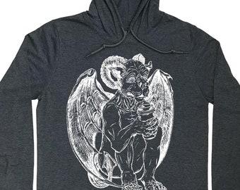 Mens Hoodies - Coffee Drinking Gargoyle Graphic Hoodie for Men - Man Gifts - Pullover Hoodie - Running Hoodie - Grey Hoodie Long Sleeve