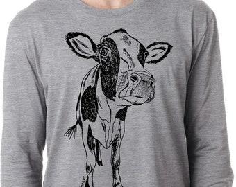 Mens Long Sleeve Shirt Lightweight Screen Printed Cow T-Shirt Mans Gift Small Medium Large XL 2XL Heather Gray Tee