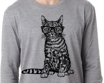 Mens Long Sleeve Shirt Lightweight Cat with Glasses Mans Gift Screen Printed Heather Gray Tee S M L XL 2XL