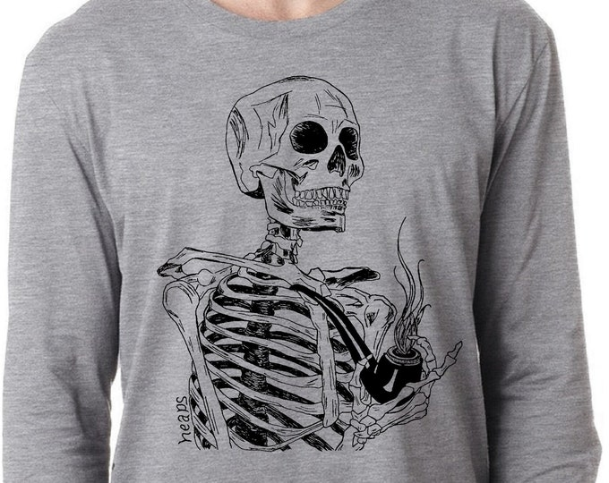 Long Sleeve TShirt for Men Lightweight Screen Printed Skeleton with a Pipe S M L XL 2XL Heather Gray Tee