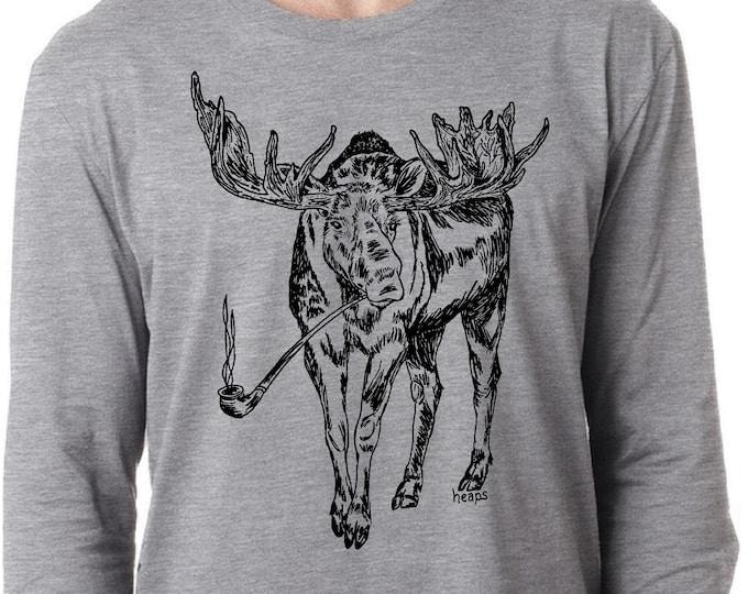 Long Sleeve T Shirt for Men Lightweight Screen Printed Smoking Moose S M L XL 2XL Heather Gray Tee Canadiana