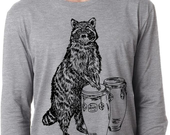 Music Teacher Gift Mens Long Sleeve Shirt Lightweight Raccoon Playing Congas Mans Gift Screen Printed Heather Gray Tee S M L XL 2XL