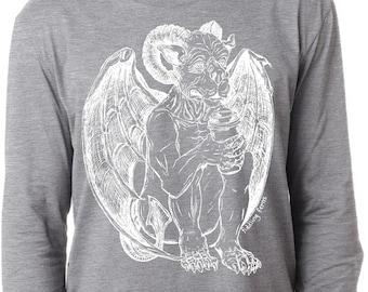 Mens Long Sleeve T Shirt Lightweight Screen Printed Gothic Gargoyle Drinking Coffee Goth Heather Gray Tee