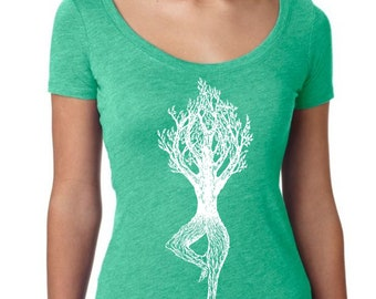Womans Scoop Neck Shirt - Yoga T Shirt - Yoga Exercises - Yoga Pose - Funny Graphic TShirts - Gift for Wife - Green Triblend T Shirt