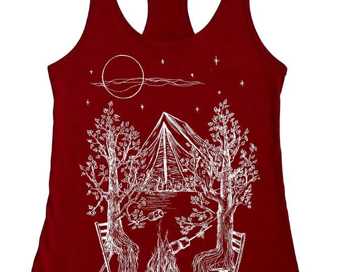 Camping Tank Top for Women - Campfire Shirt -  Nature Inspired Trees Tshirt - Womens Tank Tops - Bonfire - Tenting - Funny Tank Tops