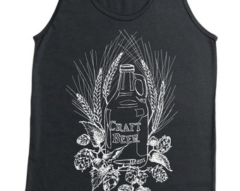 Tank Top - Craft Beer Tank Top - Hipster Tank Top - Gray Tank Top - Mens Tank Top - Beer Gift - Mens Gift - Beer Growler