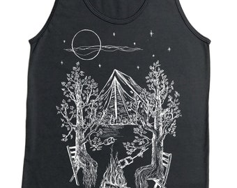Tank Tops for Men - American Apparel - Mens Gifts - Camping Tank Top - Tree Tank - Retro Tshirts - Nature Inspired Hipster Printed Graphics