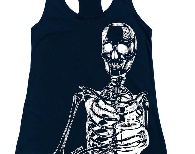 Womans Tank Tops - Rise and Grind - Mama Needs Coffee - Skeleton Tank Tops -  Coffee Gift - Racerback Tank - Flowy Tanks - Caffiene Shirt