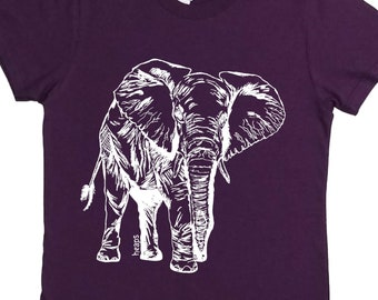 African Clothing for Women - Best Friend Gifts - Gift for Women - Womens TShirt - Elephant Shirt - Graphic TShirt - Purple Womens Tee