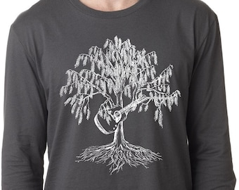 Mens Long Sleeve Shirt Lightweight Man Gift Screen Printed Willow Tree Playing Guitar T-Shirt Small Medium Large XL 2XL Dark Gray Tee