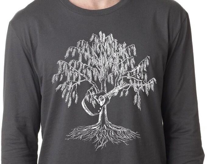 Mens Long Sleeve Shirt Lightweight Man Gift Screen Printed Willow Tree Playing Guitar T-Shirt Small Medium Large XL 2XL Dark Gray Tee