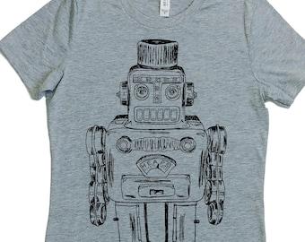 Robot Tshirt Women – Retro Womens Shirt – Robot Sci Fi T Shirt – Womens Geek Shirt – Science Space Nerd Robot Top – Adult Vintage Robot Tee