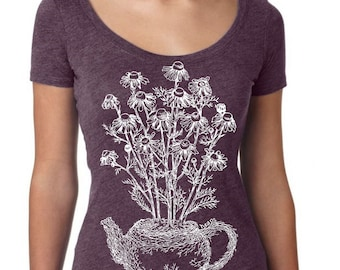 Womans Scoop Neck Shirt - Tea Pot Shirt - Tea Drinker Gift - Funny Graphic TShirts - Gift for Wife - Purple Shirt