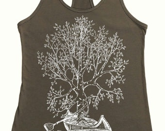 Canoeing Tank Top - Warm Grey Tank Tops for Women - Nature Inspired Funny Tanks - Yoga Tanks - Exercise Tank - Graphic Tanks - Canoe Shirt