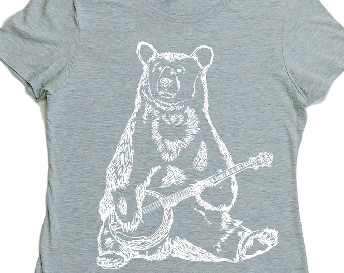 Banjo Bear TShirt for Women - Regular Fit - Banjo Tshirt for Woman - Summer Tshirt - Bear Tshirt - Womans Tshirt - Grey Tshirt Screen Print