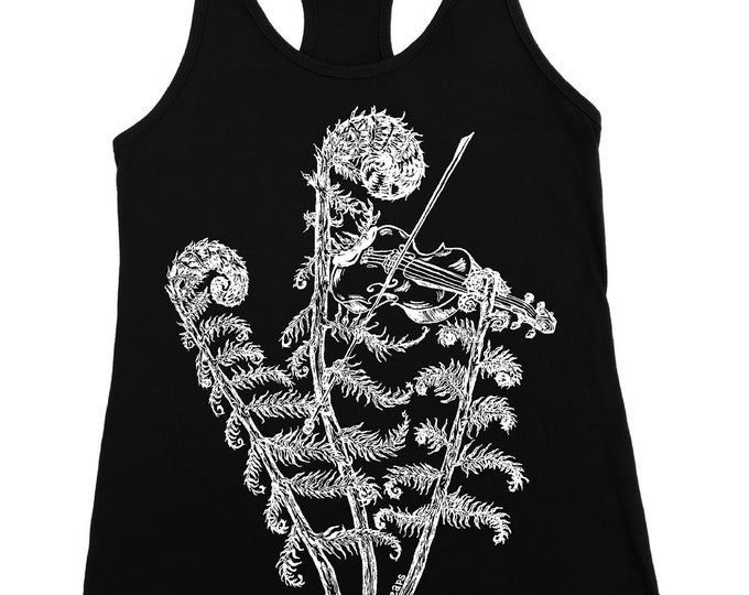 Fiddle Tank Top for Women - Plant Shirt - Fitness Tank Top - Womens Black Tank Tops - Funny Tank Tops - Violin - Funny Gifts for Women